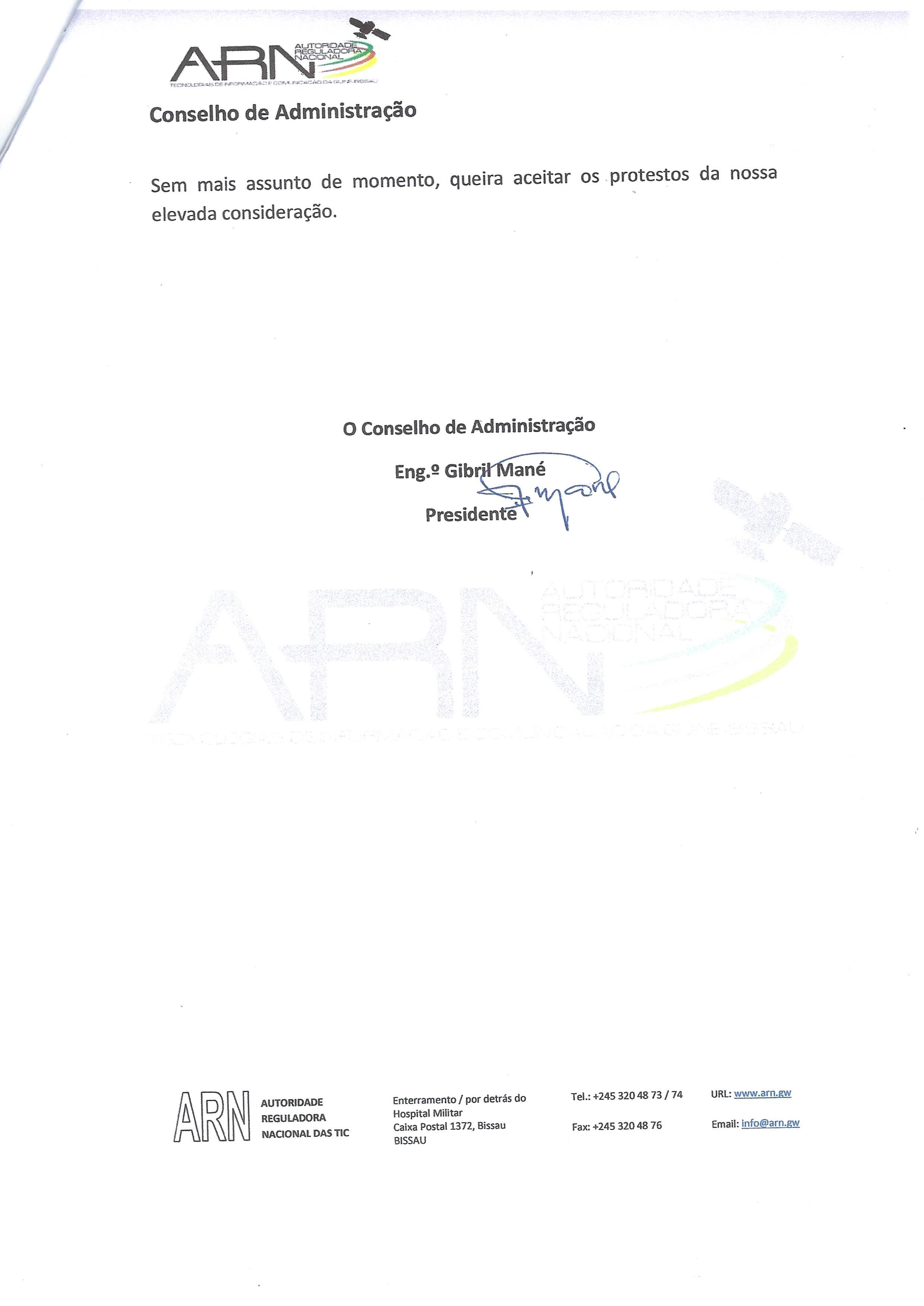Notificação Nº 32/CA/ARN/2019